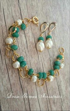 Gold Double Strand with Pearls and Green Faceted Turquoise - Pearl Jewelry Bead Jewellery, Bead Earrings, Pearl Jewelry, Gemstone Jewelry, Beaded Jewelry, Jewelry Bracelets, Vintage Jewelry, Jewelery, Jewelry Sets
