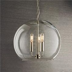 """Clear Glass Sphere Chandelier Polished nickel or bronze, $299. 3x40 watts. (16""""Hx17""""W) 10' wire, 8' chain. Hmm, Product SKU: CH13114B PN only $279. Check that."""