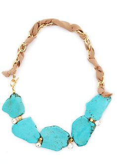 Lauren Elan natural stone & rhinestones necklace