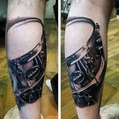 Wow! Drum tattoo on the knee! #tattoo #drums #music #drummer