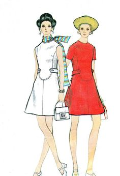 1960s Dress Pattern Vogue 7807 Mod A Line Day by paneenjerez, $25.00