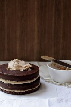 Peanut butter, chocolate layer cake with a crackle base.