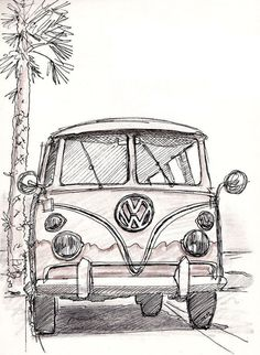 Art Drawings Sketches Simple, Car Drawings, Pencil Art Drawings, Tattoo Drawings, Car Drawing Pencil, Bus Drawing, Painting & Drawing, Kunst Inspo, Art Inspo