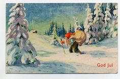 G.Erlind 1938 Vintage Greeting Cards, Old Art, Gnomes, Elves, Christmas Cards, Auction, Fairy, Manga, Painting