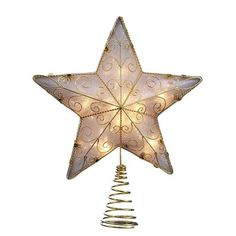 Kurt Adler Reflector Star Treetop, Gold: This Kurt Adler 10 Light Gold Reflector Star Treetop is beautiful addition to any Christmas tree decor. This class 5 point start treetop has a reflective base and is elegantly decorated with gold wiring. Gold Star Tree Topper, Christmas Tree Star Topper, Christmas Tree Decorations, Christmas Ornaments, Christmas Stars, Rustic Christmas, Christmas Time, Christmas Crafts, Xmas Tree Toppers