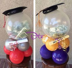 Any young grad will LOVE this money gift balloon idea! Custom Balloon Centerpiece designs for graduation parties and grad gifts. We can create festive and custom centerpieces for any party. Graduation Party Centerpieces, Graduation Balloons, Balloon Centerpieces, Graduation Decorations, Balloon Decorations, Balloon Ideas, Food Decorations, Wedding Centerpieces, Masquerade Centerpieces