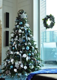 Alluring Christmas Tree as Creative Merry Decoration: Astonishing Small Christmass Tree Design In Living Room With Blue Balls ~ flohomedesign.com Decorating Inspiration