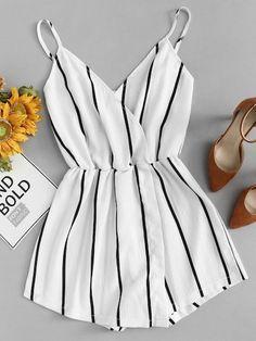 Vertical Striped Cami Romper - Gardening - Home Decor - Wedding - Women's Fashion - Diy and Crafts Teenage Outfits, Teen Fashion Outfits, Mode Outfits, Outfits For Teens, Girl Outfits, Womens Fashion, Short Outfits, Vegas Outfits, Fashion Trends