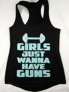 Girls wanna have guns women's racerback flowing tank top gym workout black  #1stoptrendshop #GraphicTee