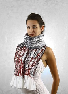 RESERVED FOR MAURICE Winter fashion Nuno felted scarf Black white red christmas gift for her under 150 texture holiday