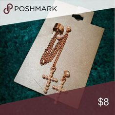 Cross cuff earrings Brand new, Gold and Pearl accent, comes with earring for each ear! Jewelry Earrings