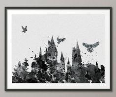 Hogwarts Harry Potter Watercolor illustrations Art von CocoMilla, $15.00