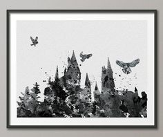 Hogwarts Harry Potter Watercolor illustrations Art Print  8x10 Wall Art Poster Giclee Wall Decor Art Home Decor Wall Hanging No 41
