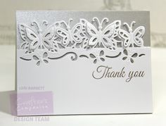 Designed by Lori Barnett. Crafter's Companopm Die'sire Edge'ables - Butterfly Dreams Die; Bebunni Floral Collection - Sweet As a Rose Stamp Set;  Shimmering Cardstock - Silver Starlight Cardstock; White Cardstock; Ranger Liquid Platinum Embossing Powder @CraftersCompUS #CraftersCompanion