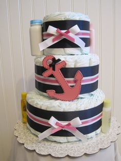 Girl pink Nautical diaper cake by LLDiaperCakes on Etsy
