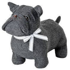Buzz Bulldog Grey Dog Door Stop fantastic soft furnishings and gift ideas all with free delivery from www.serendipityhomeinteriors.com
