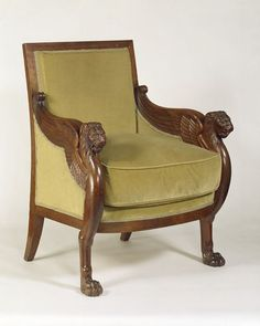 Armchair    Place of origin:  Paris, France (made)    Date:  1805-1810 (made)    Artist/Maker:  Demay, Jean-Baptiste Bernard, born 1759 - died 1848 (maker)    Materials and Techniques:  Carved mahogany with beech seat rails; upholstered