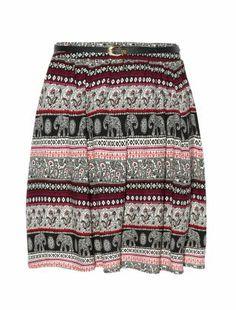 Black Elephant Print Skater Skirt - New Look