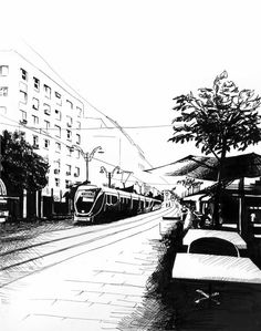 Jerusalem Light Rail Yaffo Street Print in Black and by CamilleCullinan, $17.00