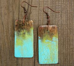 Rusty copper and patina polymer clay earrings by adrianaallenllc