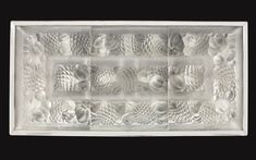 "René Lalique AN IMPORTANT AND RARE ""ANANAS ET GRENADES"" PLAFONNIER molded and frosted glass and chromium-plated metal 21 x 64 x 29 inches 1929"