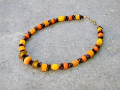 Orange Brown Statement Necklace, Glass & Resin Natural Amber Necklace, Ethnic Jewelry, Bohemian Viking Tribal Jewelry, Halloween Fall Colors