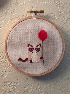 Grumpy cat cross stitch by ChooseYourPeace on Etsy