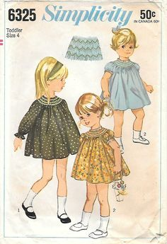 Simplicity 6325 1960s Toddler Smocked Dress Vintage Sewing
