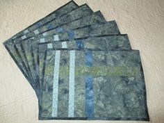 Batik Place Mats in Greens and Blues, Two by Tessasquiltshop on Etsy