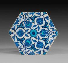 Cobalt and turquoise hexagonal tile, Turkey, Iznik, 1530-1540, Ottoman Dynasty