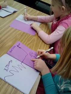 PURPLE STORIES using the book, Harold and the Purple Crayon by Crockett Johnson. Kindergarteners draw and label their own purple stories!