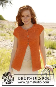 "Knitted DROPS vest in garter st worked from side to side in ""Paris"". Size XS - XXL ~ DROPS Design"