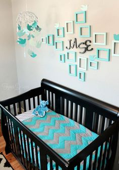 Fun Baby Boy Nursery View the bold color combination of this baby boy nursery. Loads of DIY ideas, and home decor projects in this fun baby boy nursery.