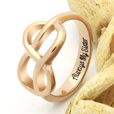 "Sister Infinity Ring, Infinity Symbol Sister Ring ""Always My Sister"" Engraved Ring Perfect Christmas Gift for Sister, This Sister Ring is created to help to demonstrate great love to your sister. The Ring's design is simple and exquisite in the same time. Infinity Symbol and touching engravings make a perfect match."