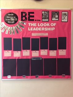 Student Leadership Bulletin Board Idea (picture only). The three photos at the top are of young people around the same age as students in middle school as examples of leadership such as 14 year old pilot, 11 year old entreprenuer, etc. The black spaces are for students who show leadership with spaces below to write examples. The larger are for Student of the Month for each class. Printed on silver gift wrap paper (set printer to glossy setting)