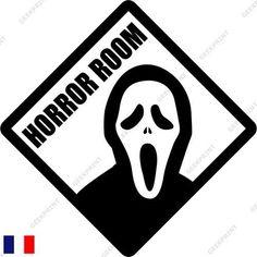 STICKER AUTOCOLLANT PORTE HORROR ROOM HUMOUR CINEMA HORREUR DECO FUN in Maison, Décoration intérieure, Décorations murales, stickers | eBay