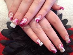 Beautiful standard White tip French manicure with pink and white 1 / one stroke flowers free hand nail art Floral  One of my favorites!