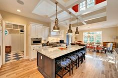 Kitchen With Industrial Pendant Lights. Such hanging pendant lamps are suitable for kitchens with high ceilings.