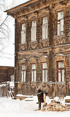 Old wooden house in Tutayev, Russia