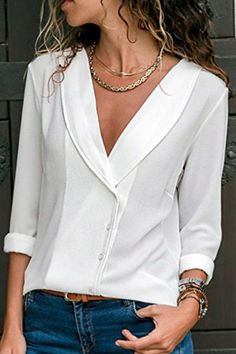 2018 Herbst Langarm Bluse Sexy Deep V Neck Shirt Frau Solidrricdress - blouse Chiffon Shirt, Blouse Online, Long Blouse, Mode Outfits, Girly Outfits, Casual Outfits, Ladies Dress Design, Shirt Blouses, Blouses For Women