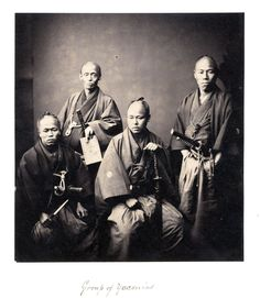 "© Felice Beato, 1874, ""Group of Yaconins - Framed Retainers of the Daimyo of Satsuma ""Japan Felice Beato was born in Venice around 1825. During his lifetime, he accompanied the British troops in India, recording images of the Indian Mutiny in 1857, and the Franco-British troops in China to cover the end of the Second Opium War in 1859. With his friend Charles Wirgman, Beato opened a photography studio in Yokohama, Japan in the early 1860s, and produced many images of the Japanese and their…"