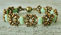 Linda's Crafty Inspirations: Bracelet of the Day: Lattice Gates Variation - Jade silky beads