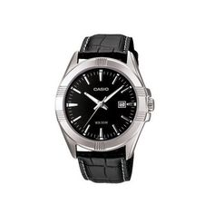 Men's Wrist Watches - Casio Mens MTP1308L1AV Black Leather Quartz Watch with Black Dial *** Read more at the image link.