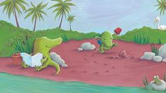 Alison Brown Illustration - alison, brown, alison brown, paint, painted, acrylic, commercial, trade, picture book, picturebook, novelty, mass market, fiction, young reader, YA, animals, crocodile, cute, sweet, funny, humor, play, bucket, spade, trees, water, reading, leaves, plants,
