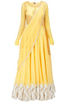 Yellow dori and pearl embroidered kurta set available only at Pernia's Pop-Up Shop.