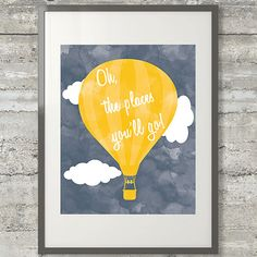 Oh The Places You'll Go Nursery Art by PrintsAndPrintables on Etsy, $5.00