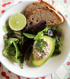 Cilantro-Lime Sardine Salad in Avocado Halves. I want to make this with no-tuna salad.