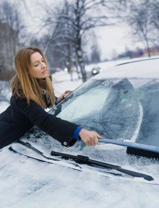 Ice-proof your windows with vinegar! Frost on its way? Just fill a spray bottle with three parts vinegar to one part water & spritz it on all your windows at night. In the morning, they'll be clear of icy mess. Vinegar contains acetic acid, which raises the melting point of water---preventing water from freezing!