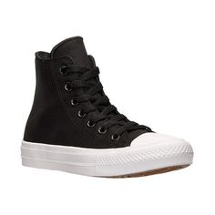 Women's Converse Chuck Taylor II Hi Casual Shoes ($75) ❤ liked on Polyvore featuring shoes, sneakers, black, black sneakers, converse shoes, star shoes, black special occasion shoes ve cushioned shoes