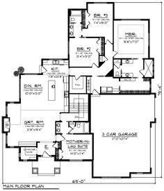 Ranch Style House Plan - 4 Beds 3 Baths 2782 Sq/Ft Plan #70-1202 Floor Plan - Main Floor Plan - Houseplans.com